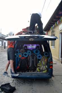 Gear packed in tight and strapped up above!