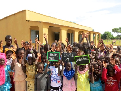 A picture the trek team received of the girls of the village celebrating in front of the completed school. Could there be any more joy radiating from their eyes?