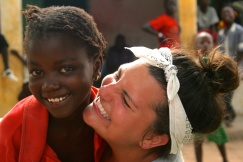 Giggling with Jojo, one of the sweetest girls in the village.